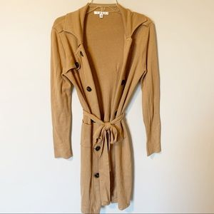 CAbi   open front long duster cardigan size XS